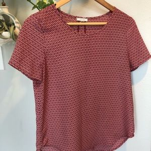 PLEIONE NWOT small red&white shortsleeved blouse.
